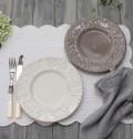 ダマスク柄 アンティークな輸入食器  デザートプレート デザート皿(オフホワイト・グレージュ)ポルトガル製 おしゃれ シャビー