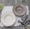 ダマスク柄 アンティークな輸入食器  スーププレート スープ皿 (オフホワイト・グレージュ)ポルトガル製 おしゃれ シャビーシ