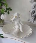 ★SALE・30★ 陶器製の天使のシェル小物入れ(2シェルタイプ) 天使 エンジェル シャビー 北欧 フレンチ クリスマス