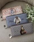 ★SALE・30★ 猫雑貨 財布・ウォレット (A,B,C) ファスナー財布 フランスデザイン ヴィクトリアン 猫 キャット