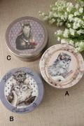 猫雑貨 ティン缶 (A,B,C) ブリキ 缶 フランスデザイン ヴィクトリアン 猫 キャット 輸入雑貨 ギフト 贈り物