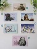 フランスから届く猫のポストカード(M,N,O,P,Q,R)♪♪ 便せん ギフトカード 猫 キャット ポストカード 猫雑貨