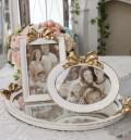 リボンモチーフのフォトフレーム(オーバル・レクト) 写真立て シャビーシック フレンチカントリー アンティーク 雑貨 輸入