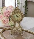 ロココ調のアイボリーゴールド置時計 クオーツ時計 テーブルクロック 輸入雑貨 アンティーク調 アンティーク 雑貨 antique お