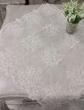ハンドメイドのビーズ刺繍が美しいレースのテーブルセンター・Lサイズ 82×82cm テーブルランナー レース ホワイト