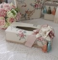 エレガントな刺繍布張りシリーズ(プチトリアノン・ティッシュBOX) ティッシュボックス ティッシュカバー  フレンチカントリ