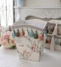 エレガントな刺繍布張りシリーズ(プチトリアノン・ダストBOX) ダストボックス ゴミ箱  フレンチカントリー アンティーク 雑