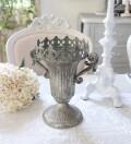 アンティークなブリキ花器 L506 ベース ヨーロピアンコンポート 花瓶 洋風 輸入雑貨 シャビーシック ヨーロピアン雑貨 アンティ