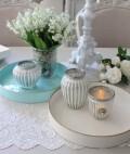 ラウンドトレイ(ホワイト ライトブルー)トレー 小物入れ アンティーク風 antique アンティーク ディスプレイトレイ フレンチト