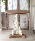 アンティークなラウンドテーブル ホワイト ティーテーブル コーヒーテーブル サイドテーブル シャビーシック アンティーク風 家