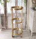 アンティークなラウンド3段シェルフ ゴールド 飾り台 サイドテーブル 花台 シェルフ トレイ シャビーシック アンティーク風 家具