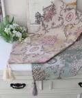 ロココ調 テーブルランナー 11031TR アイボリー・ブルー 豪華 高級 ジャガード テーブルセンター ドイリー 布製 刺繍 アンティ