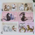 フランスから届く猫のポストカード(G,H,I,J,K,L)♪♪ 便せん ギフトカード 猫 キャット ポストカード