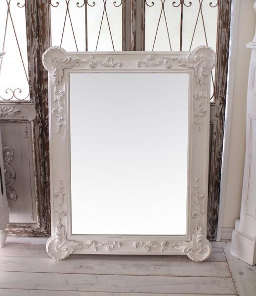 アンティーク風・壁掛けミラー (シェルレクタングル 168)四角 長方形 壁掛けミラー  ホワイト シャビーシック  フレンチカント