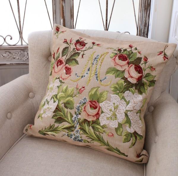 フランス製のゴブラン織り ( クッション 50cm角・アントワネット&ブーケ)中綿付き シャビーシック アンティーク風 フレンチ