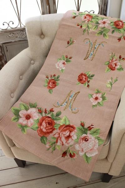 フランス製のゴブラン織り ( テーブルランナー マリーアントワネット ピンク)テーブルセンター シャビーシック アンティーク風
