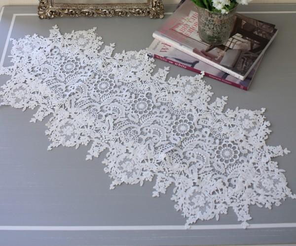 フィブランシェシリーズ(テーブルランナー 35×76cm)レースドイリー 布製 ホワイト 敷物 テーブルセンター アンティーク アン