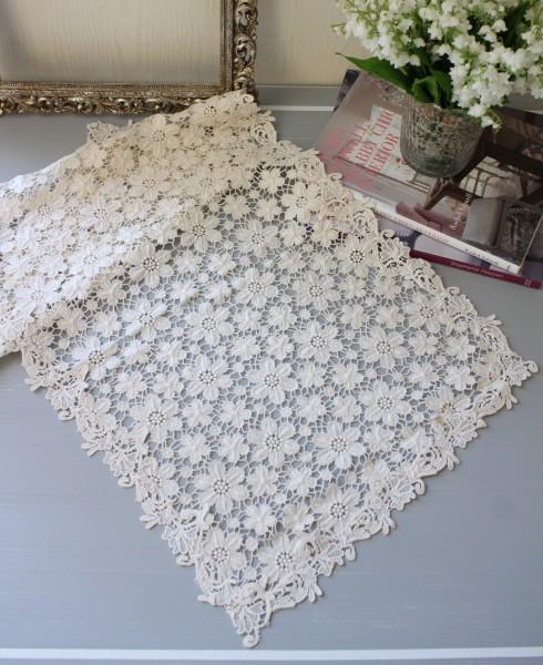 アンティークフルールシリーズ(ランナー35×80cm角)レースドイリー テーブルセンター テーブルランナー 布製 ホワイト 敷物