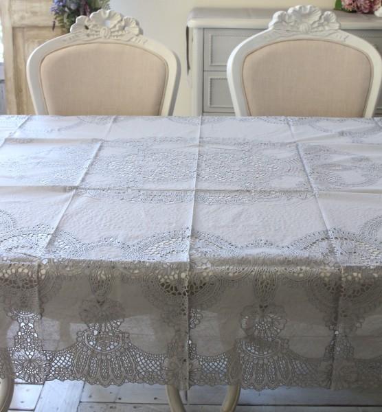 ビニール製 テーブルクロス (フレンチレース・135cmグレー3052) ビニールクロス 撥水 はっ水 レース柄 アンティーク風 フレンチ