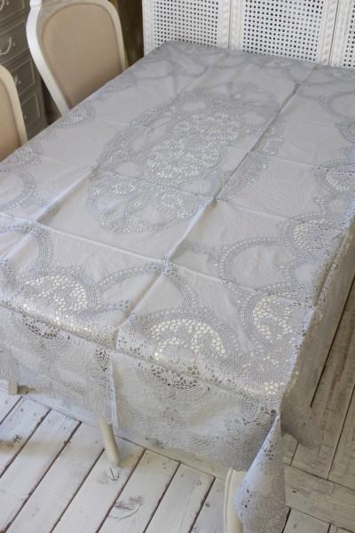 ビニール製 テーブルクロス (フレンチレース・150cmグレー3053) ビニールクロス 撥水 はっ水 レース柄 アンティーク風 フレンチ