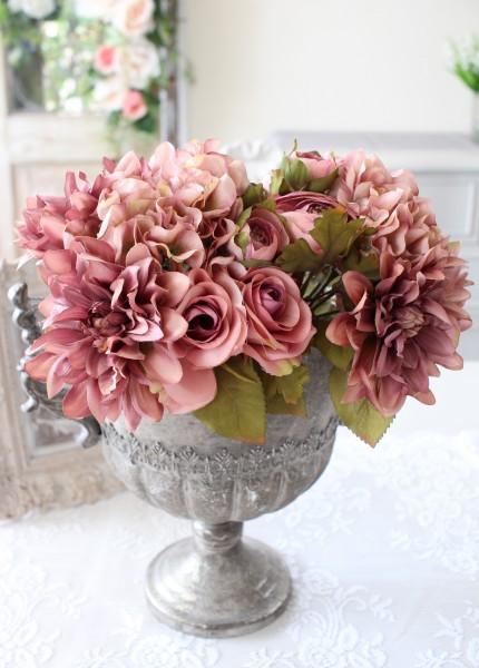 アンティークなミックスフラワーブーケ ローズ ダリア 紫陽花 ラナンキュラス 造花 シルクフラワー アーティフィシャルフラワー