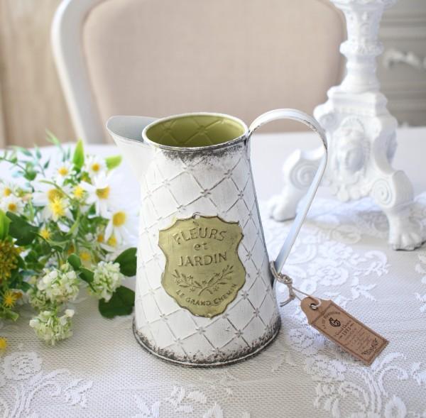 ジャルダンシリーズ ミニピッチャー 290 ブリキ ジョウロ 花瓶 プランター 鉢カバー 小物入れ  可愛い アンティーク風 シャビー