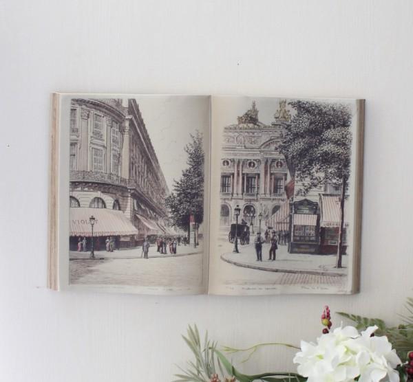 アンティーク 雑貨 ブック型壁掛け(Lカフェ065)額縁 可愛い アンティーク風 シャビーシック フレンチカントリー アンティーク