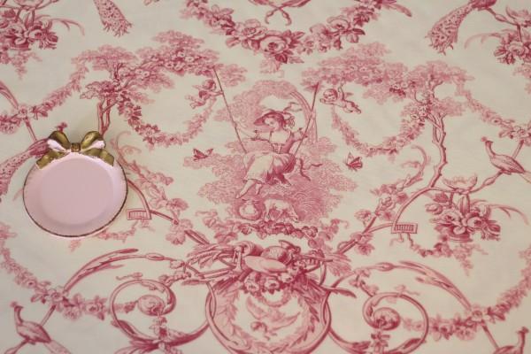 フランス製 トワルドジュイ柄 貴婦人ブランコ オフホワイト×ピンク系 THEVENON社  輸入生地 テーブルクロス カーテン生地 ファ
