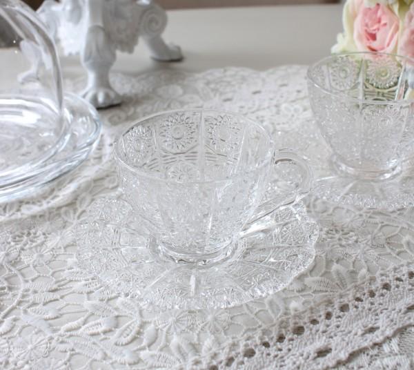 グラスカップ&ソーサー ガラス製 C&S アンティーク風 フレンチ食器 ガラスカップ&ソーサー フレンチ食器 フランス アンティー