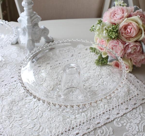 ケーキスタンドL ガラス ガラス製 ケーキプレート ケーキ台座 ガラス食器 コンポート アンティーク 食器 洋食器 アンティーク風