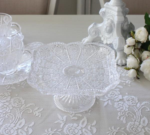 ケーキスタンド スクエア レース柄 ガラス ガラス製 ケーキプレート ケーキ台座 ガラス食器 コンポート アンティーク 食器 洋食