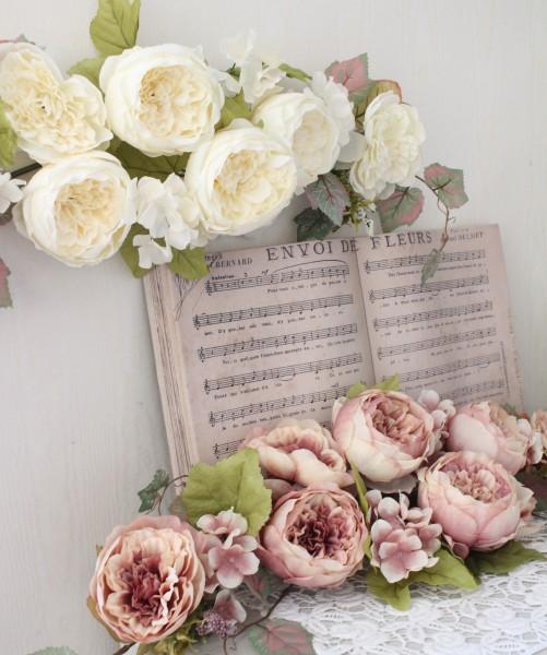 ローズスワッグ 壁飾り(クリーム モーブ) リース 造花 壁掛け 薔薇 スワッグ シルクフラワー アーティフィシャルフラワー ウォ
