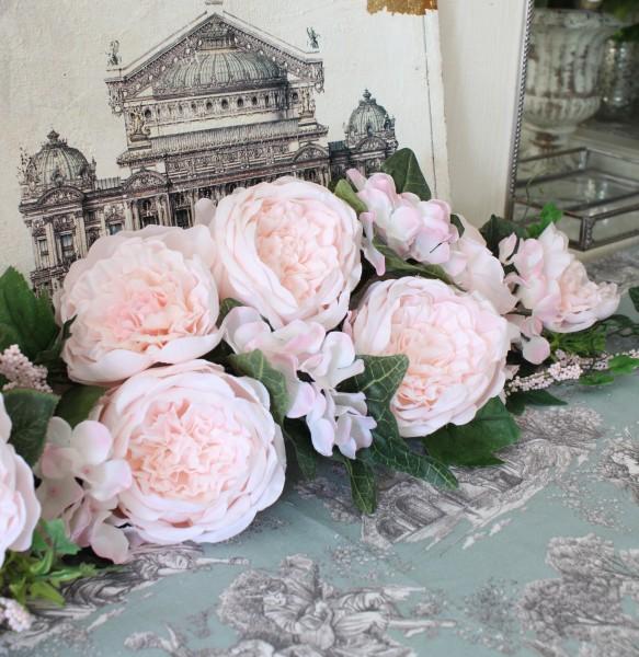 ローズスワッグ 壁飾り(ライトピンク) リース 造花 壁掛け 薔薇 スワッグ シルクフラワー アーティフィシャルフラワー ウォー
