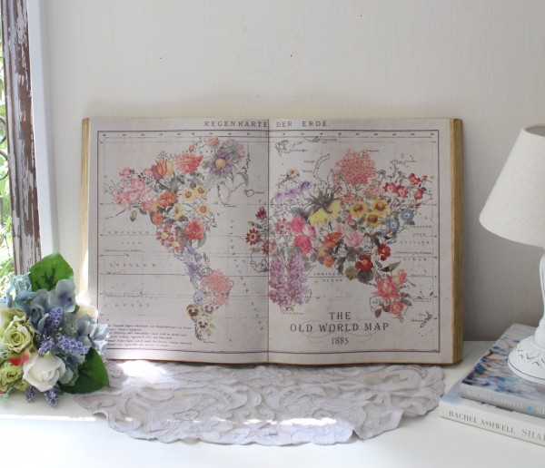 アンティーク 雑貨 ブック型壁掛け(フラワーマップ)額縁 可愛い アンティーク風 シャビーシック フレンチカントリー アンティ