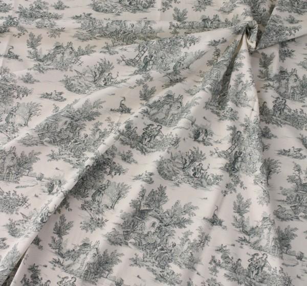 トワルドジュイ・田園(クリーム×グリーン 緑) トワル・ド・ジュイ フランス製 輸入生地 カーテン生地 ファブリック カルトナ