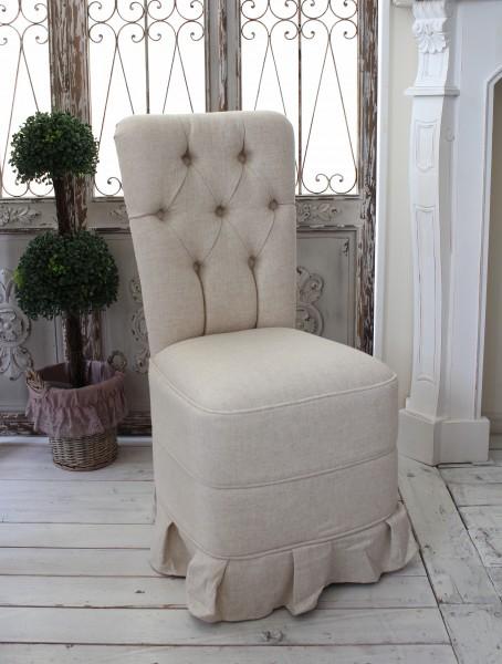 アンティーク ソファー 背付キルティングチェアL リネンベージュ ダイニングチェア ソファ 布 ファブリックチェア 椅子 布張り