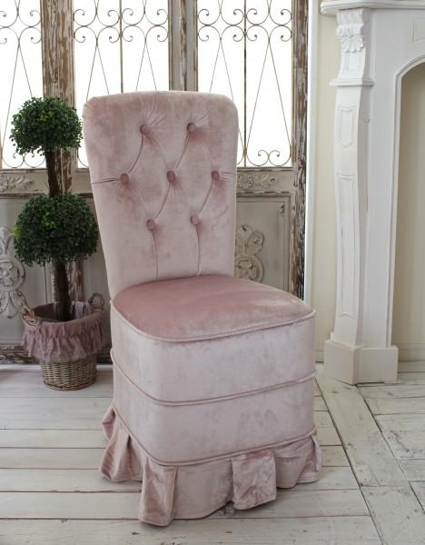 背付キルティングチェアL ベルベットピンク ダイニングチェア ソファ 布 アンティーク ソファー 椅子 布張り チェスターフィー