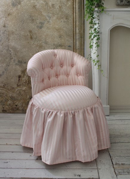 ロマンティックなファブリックチェア 【プリマ・ストライプピンク】 スツール 椅子 布張り ソファ 布 シャビーシック アンティー