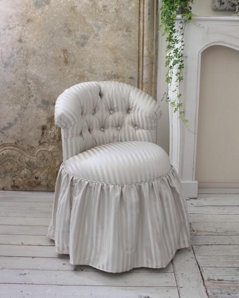 ロマンティックなファブリックチェア 【プリマ・ストライプグレー】 ソファ 布 スツール 椅子 布張り シャビーシック フレンチカ
