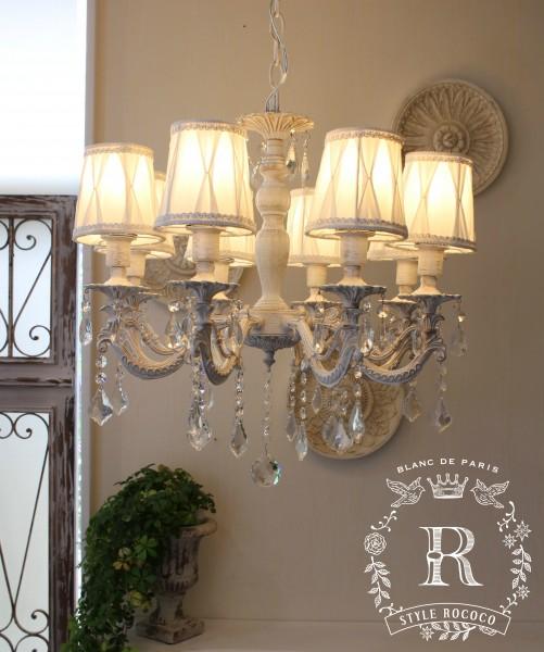 シャビーシックな LED シャンデリア 8灯 アンティークホワイト 天井照明 フレンチ アンティーク風 白いシャンデリア LED電