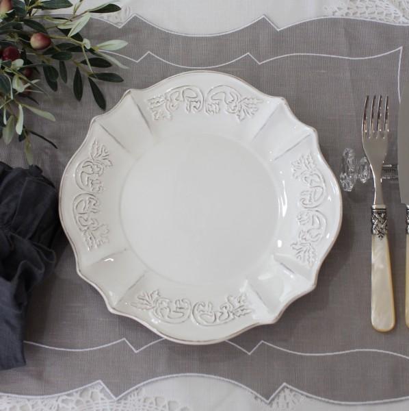 シャビーシックなフレンチ食器 パリスシリーズ ディナープレート ディナー皿 アンティーク風 陶器 白 アンティーク 食器 白い食