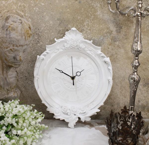 フレンチホワイトのデコラティブ掛け時計 フレンチシック クォーツ掛 時計 輸入雑貨 アンティーク風 雑貨 シャビーシック フレン