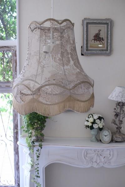 フランスレースの美しいランプシェード(エクリュベージュL) 天井照明 布シェード ハンギングランプ アンティーク お洒落