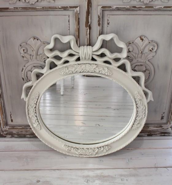 プリンセステイスト リボンミラー オーバル型 壁掛け 壁掛けミラー オフホワイト 薔薇 リボンモチーフ