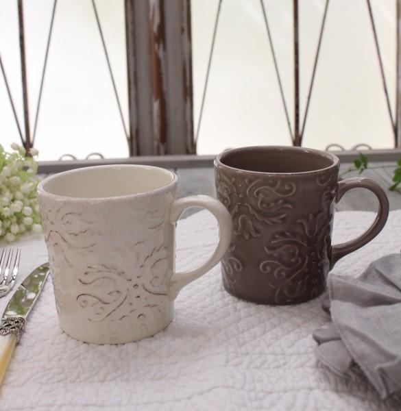 ダマスク柄 アンティークな輸入食器 マグカップ マグ(オフホワイト・グレージュ)ポルトガル製 おしゃれ シャビーシック アンテ