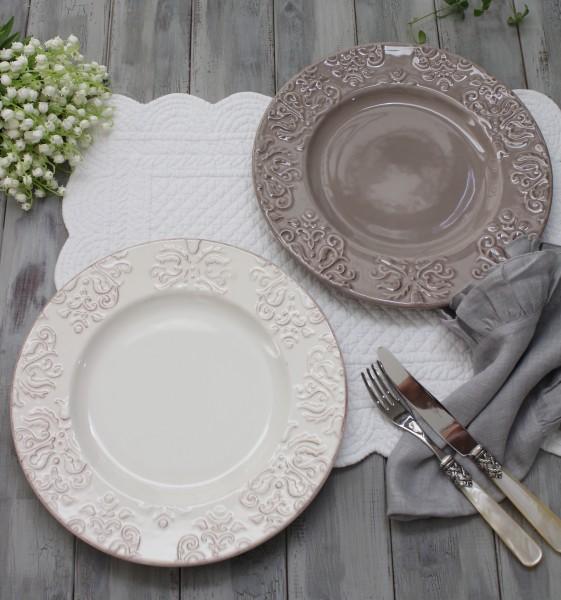ダマスク柄 アンティークな輸入食器  ディナープレート ディナー皿(オフホワイト・グレージュ)ポルトガル製 おしゃれ シャビー