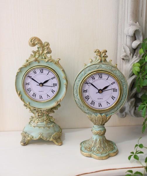 エメラルドグリーンのシャビーな置時計 (スカラップ型、猫足型) 置時計 テーブルクロック 輸入雑貨 アンティーク調 アンティ