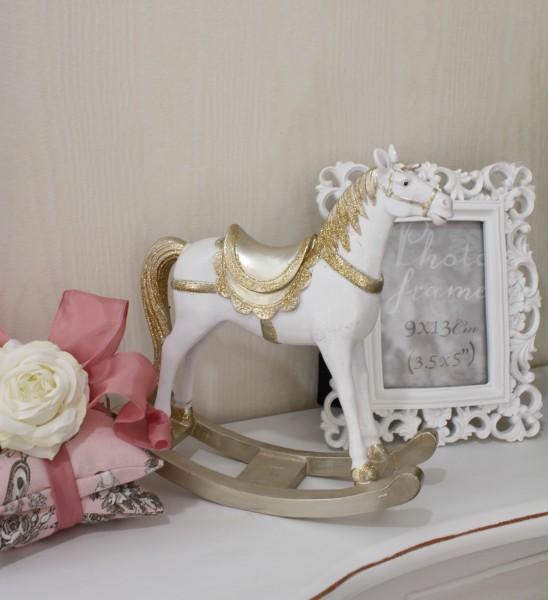 ゴールドラメの木馬のオブジェ ロッキングホース 木馬 置物 フレンチカントリー アンティーク 雑貨 輸入雑貨 antique shabb