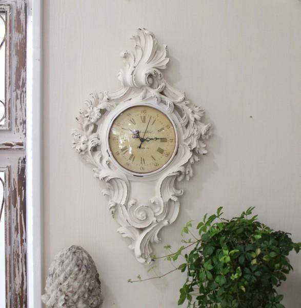 デコラティブなロココ掛け時計(AW) アンティーク仕上げ 雑貨 掛け時計 ウォールクロック アンティーク風 シャビーシック ant