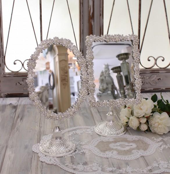 アンティーク風・雑貨  卓上ミラー(オーバル・レクト)鏡 可愛い  シャビーシック  フレンチカントリー アンティーク 雑貨 姫